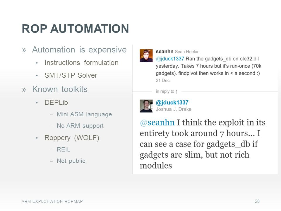 ROP automation Automation is expensive Known toolkits