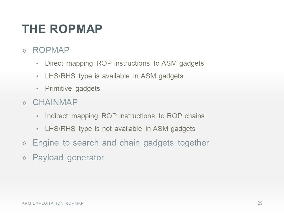 the ropmap ROPMAP CHAINMAP Engine to search and chain gadgets together