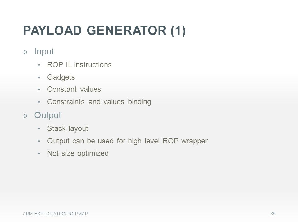 Payload generator (1) Input Output ROP IL instructions Gadgets