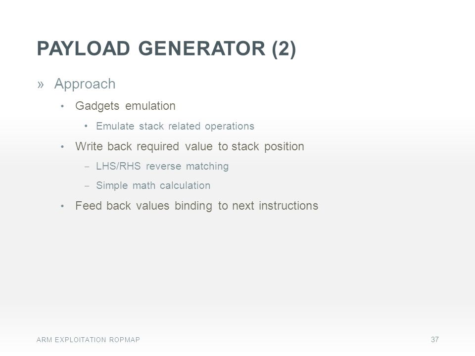 Payload generator (2) Approach Gadgets emulation