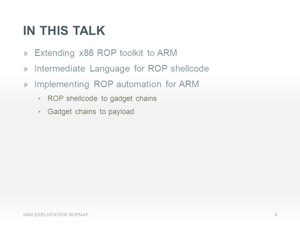 In this talk Extending x86 ROP toolkit to ARM