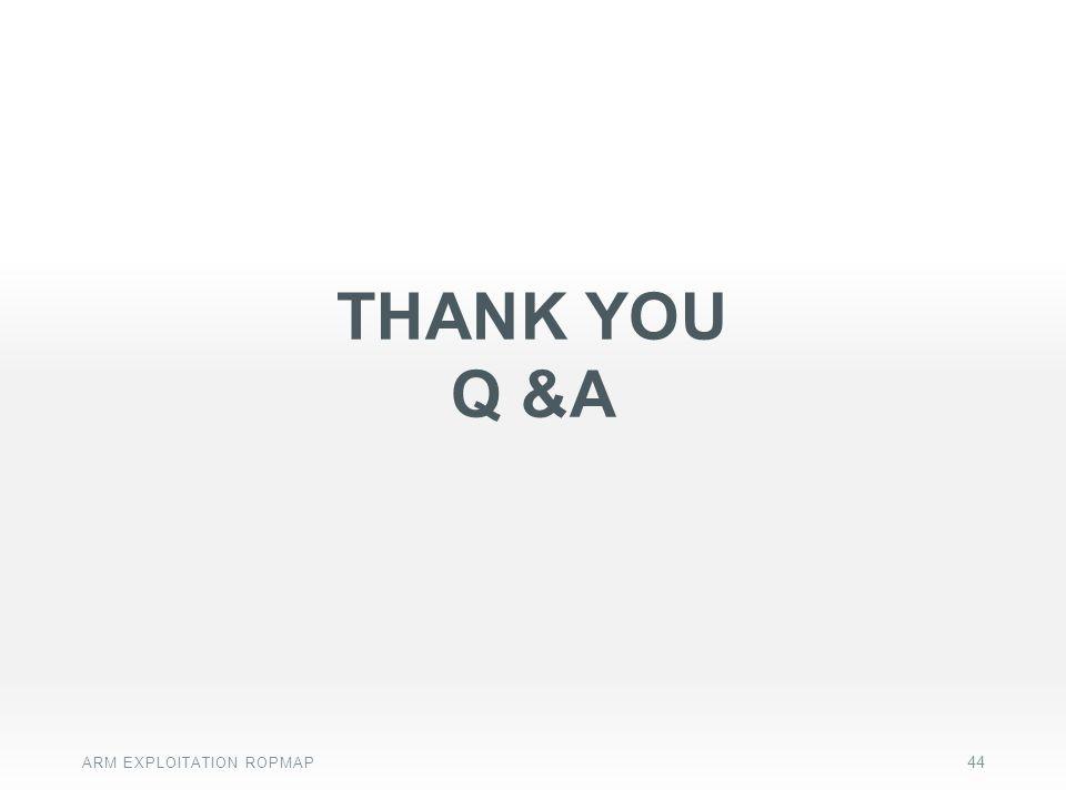 THANK YOU Q &A ARM EXPLOITATION ROPMAP