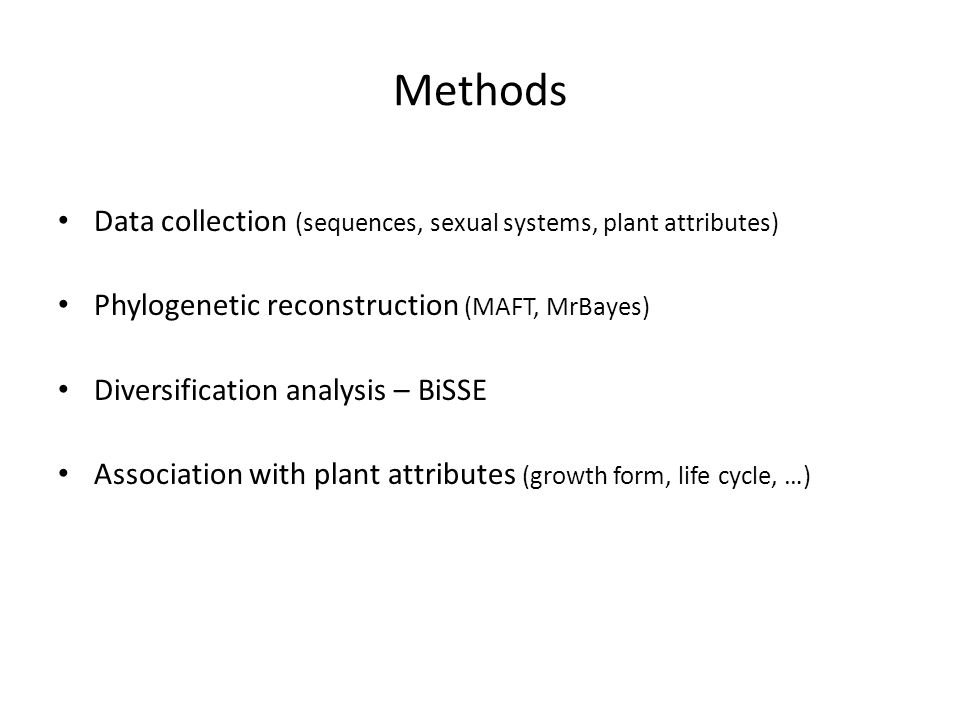 Methods Data collection (sequences, sexual systems, plant attributes)