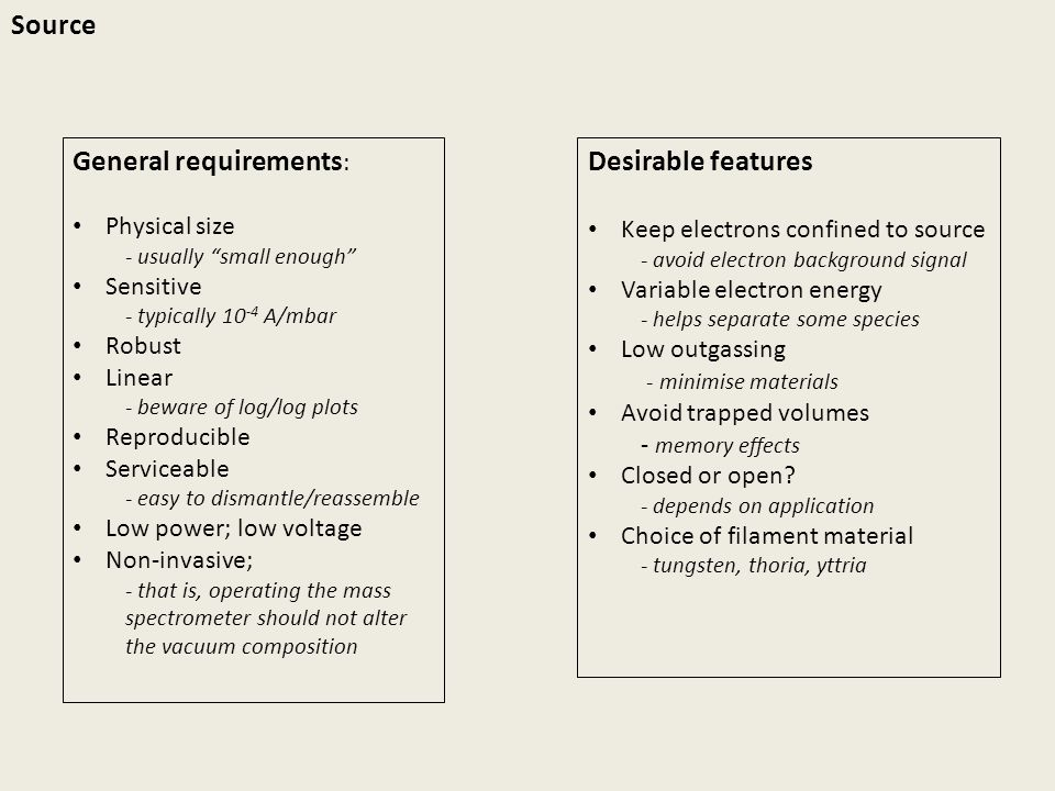General requirements: Desirable features