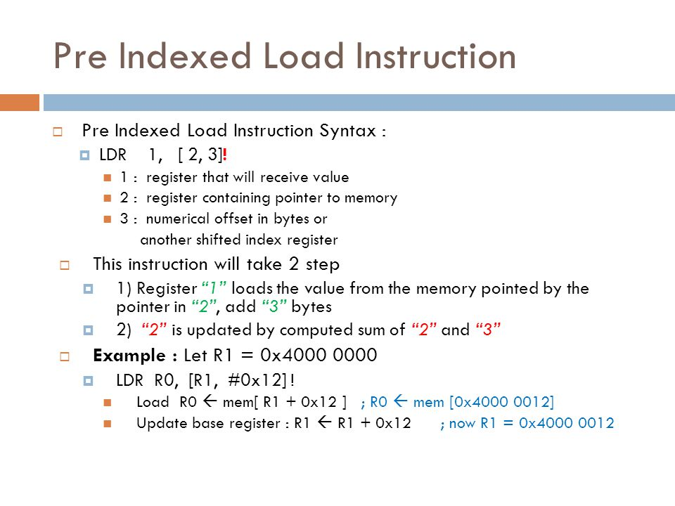 Pre Indexed Load Instruction
