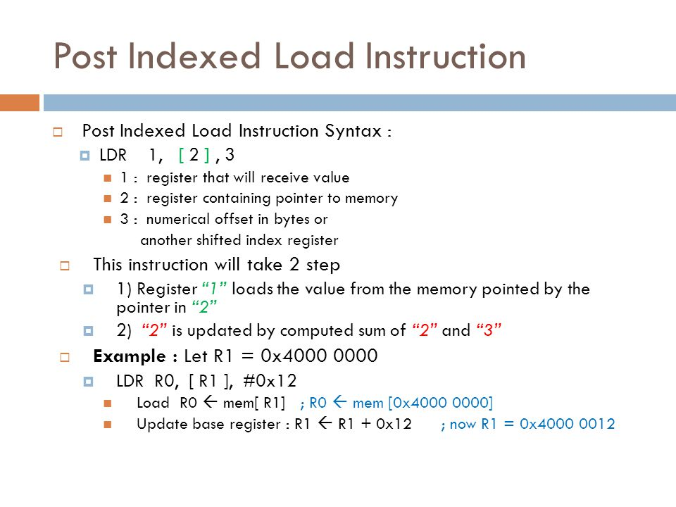 Post Indexed Load Instruction