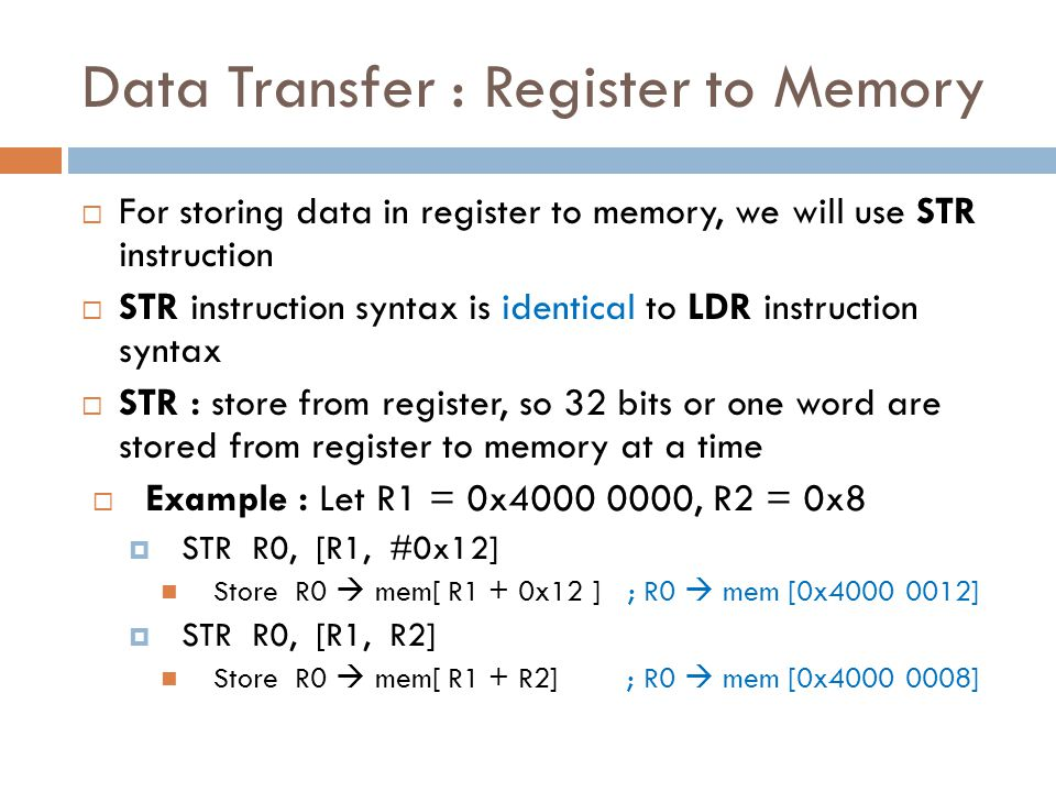 Data Transfer : Register to Memory