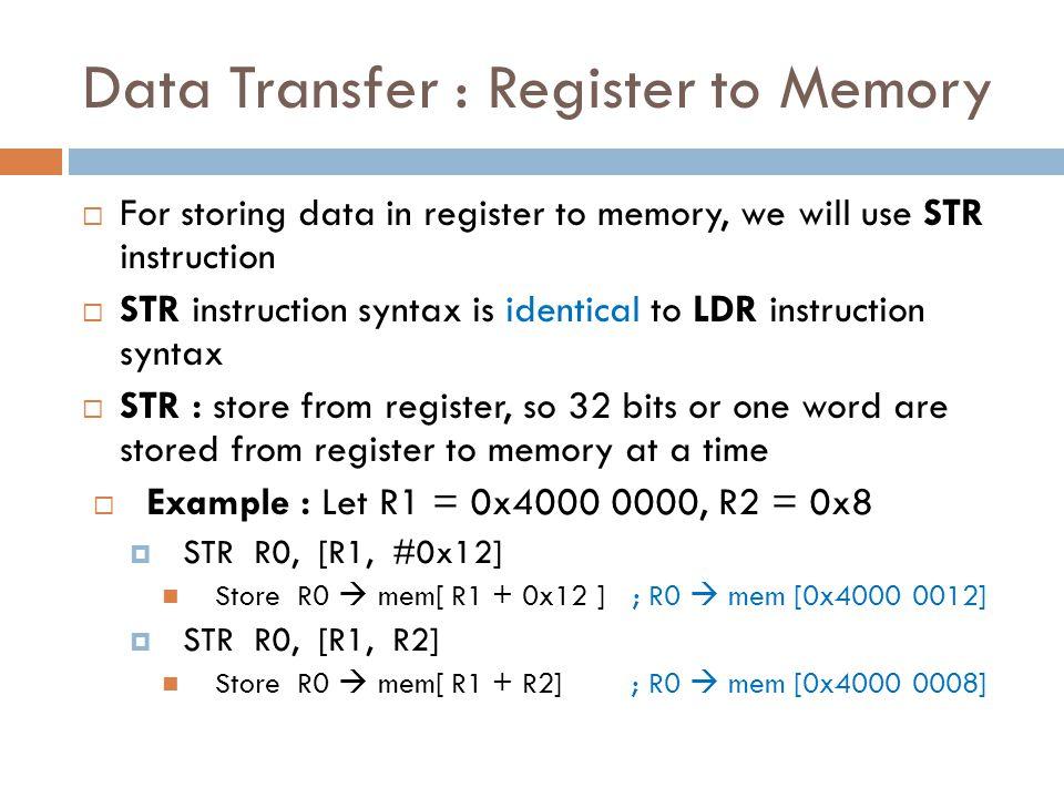 Data Transfer : Register to Memory