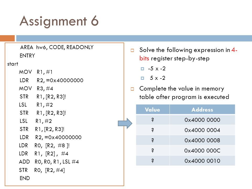 Assignment 6 AREA hw6, CODE, READONLY