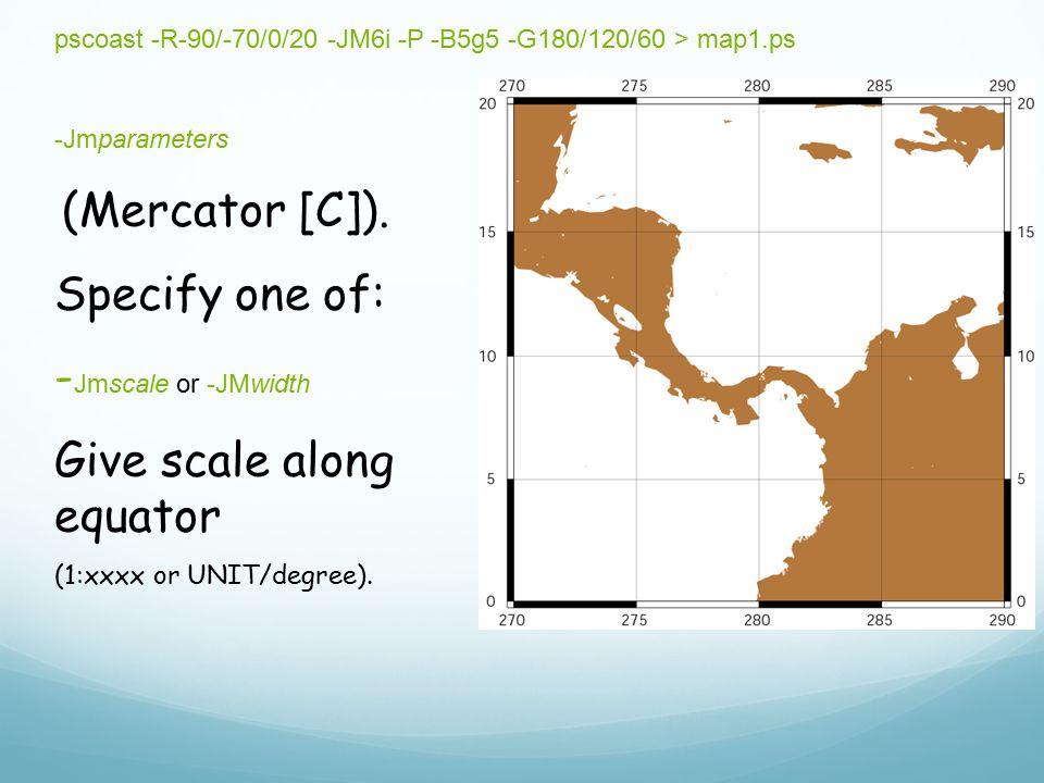 Give scale along equator