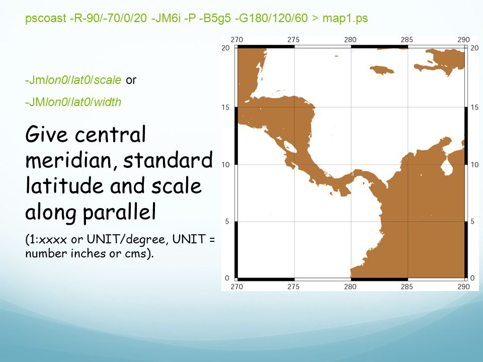 Give central meridian, standard latitude and scale along parallel