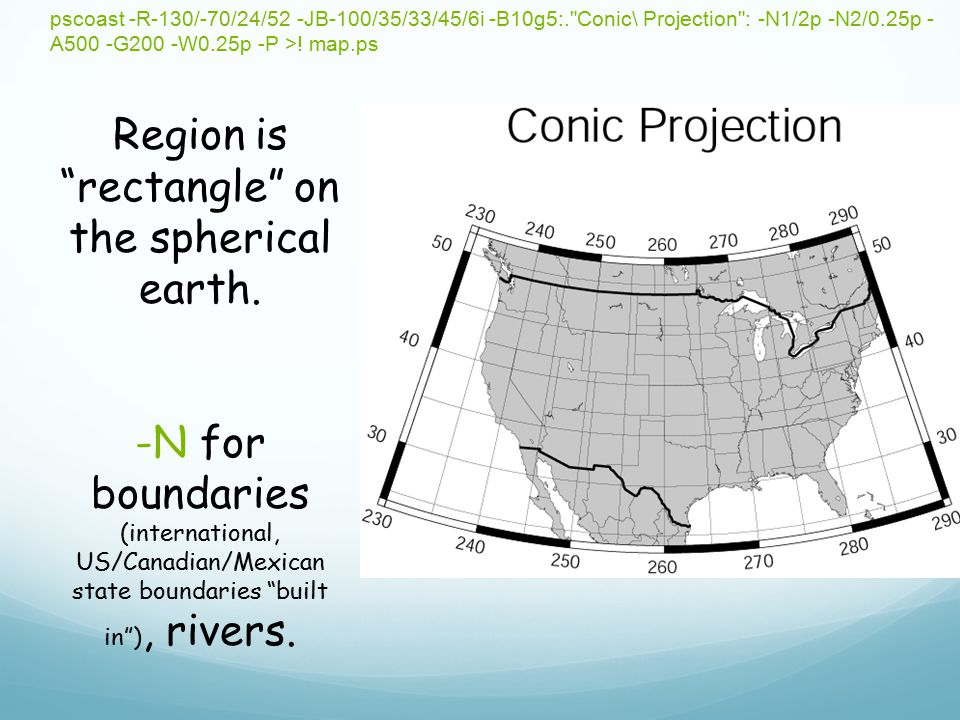 Region is rectangle on the spherical earth.