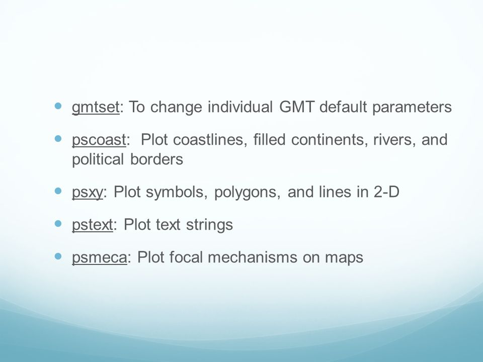 gmtset: To change individual GMT default parameters