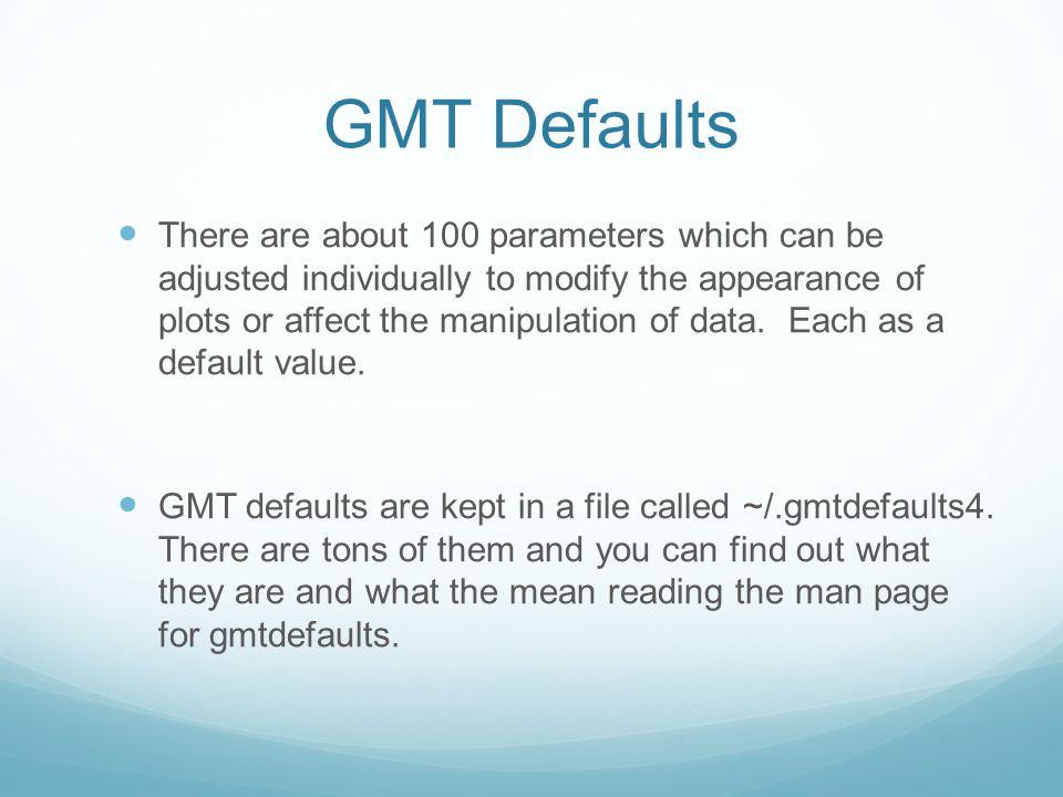 GMT Defaults