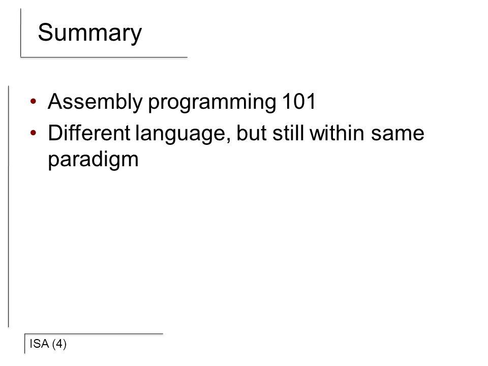 Summary Assembly programming 101