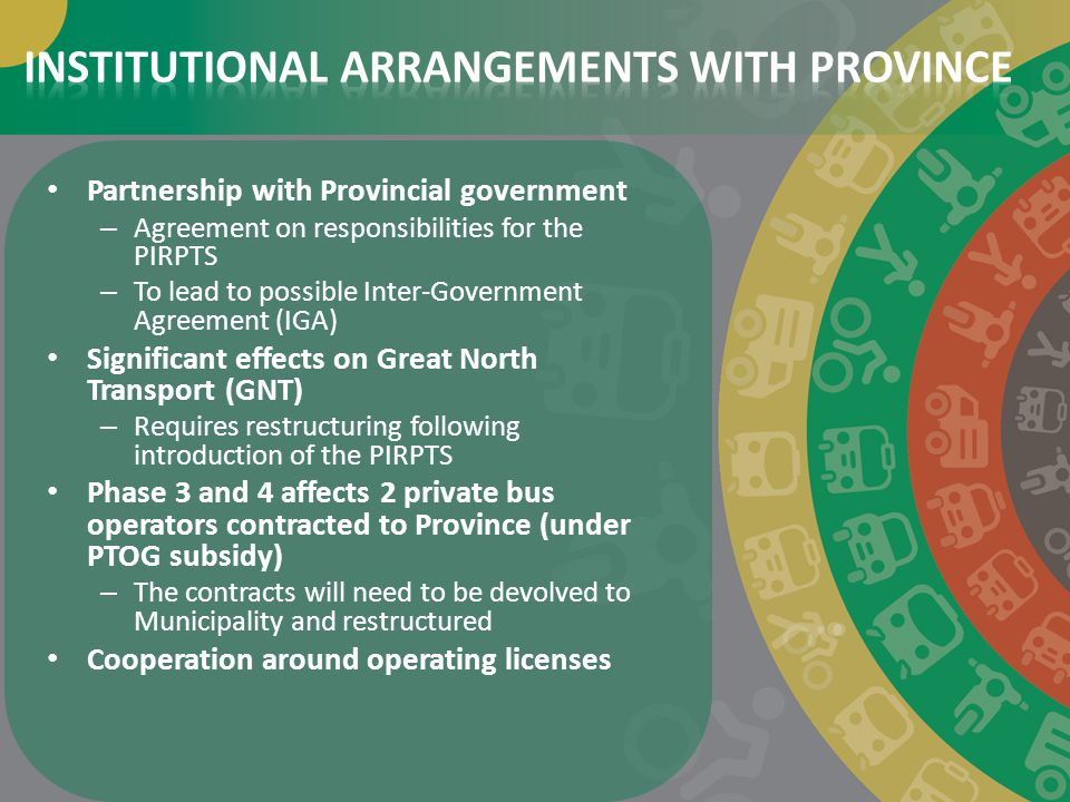 INSTITUTIONAL ARRANGEMENTS WITH PROVINCE