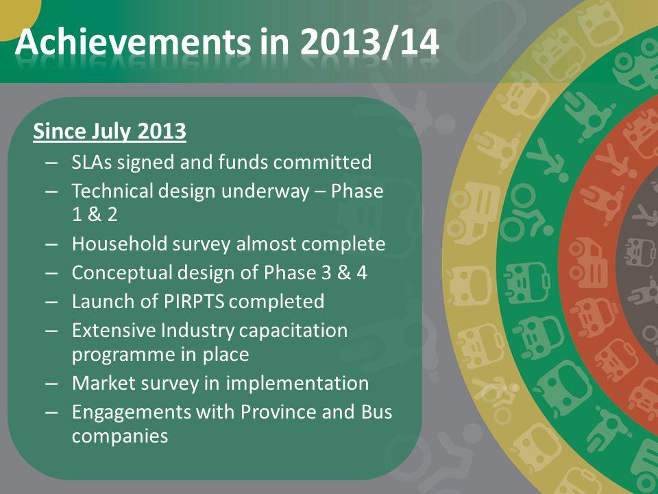 Achievements in 2013/14 Since July 2013