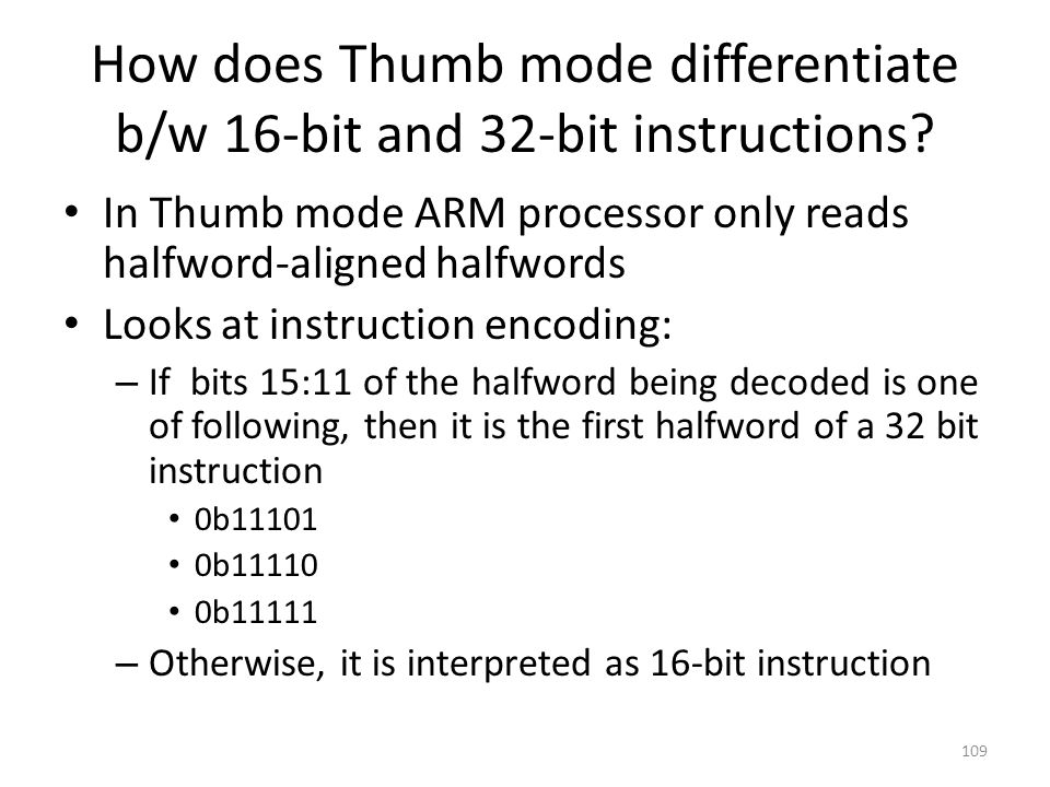 How does Thumb mode differentiate b/w 16-bit and 32-bit instructions