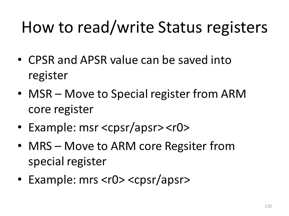 How to read/write Status registers