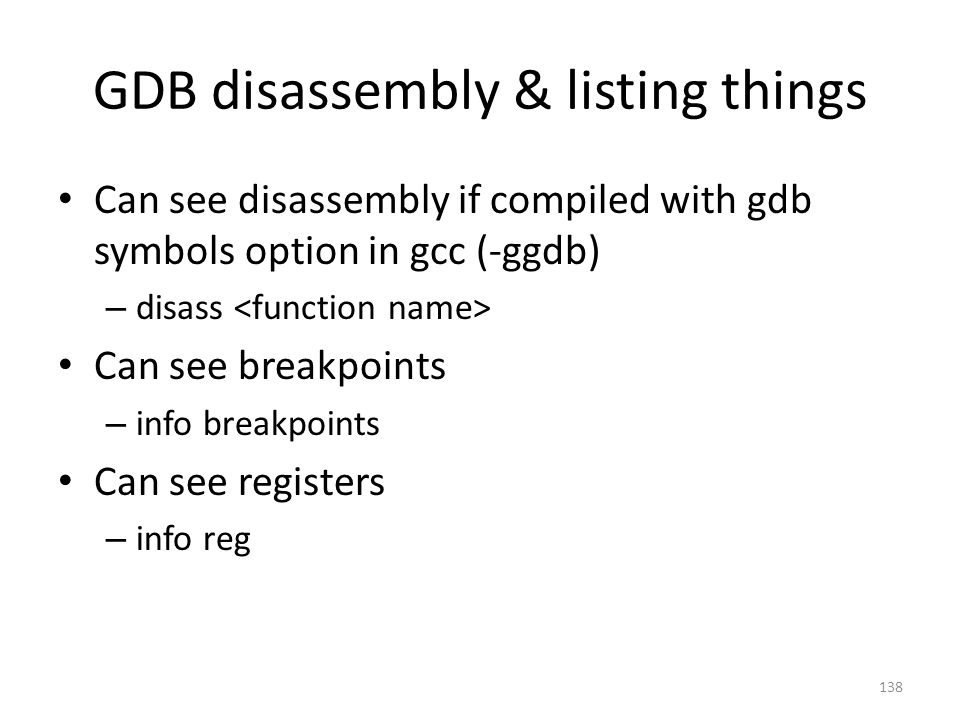 GDB disassembly & listing things