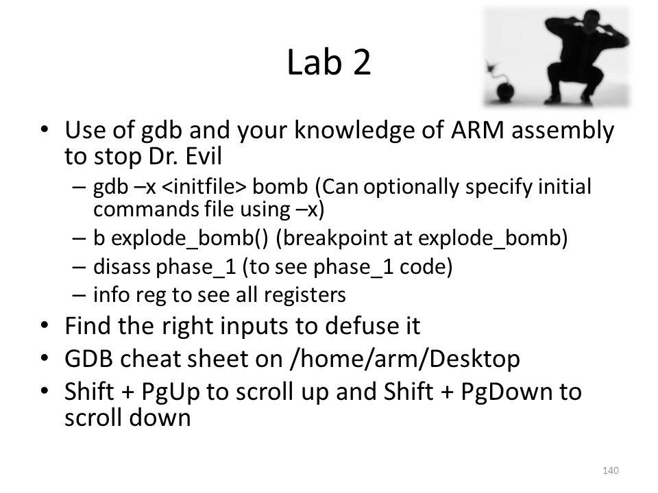 Lab 2 Use of gdb and your knowledge of ARM assembly to stop Dr. Evil