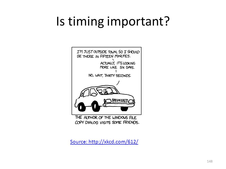 Is timing important Source: http://xkcd.com/612/