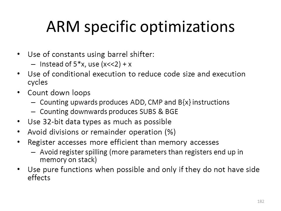 ARM specific optimizations