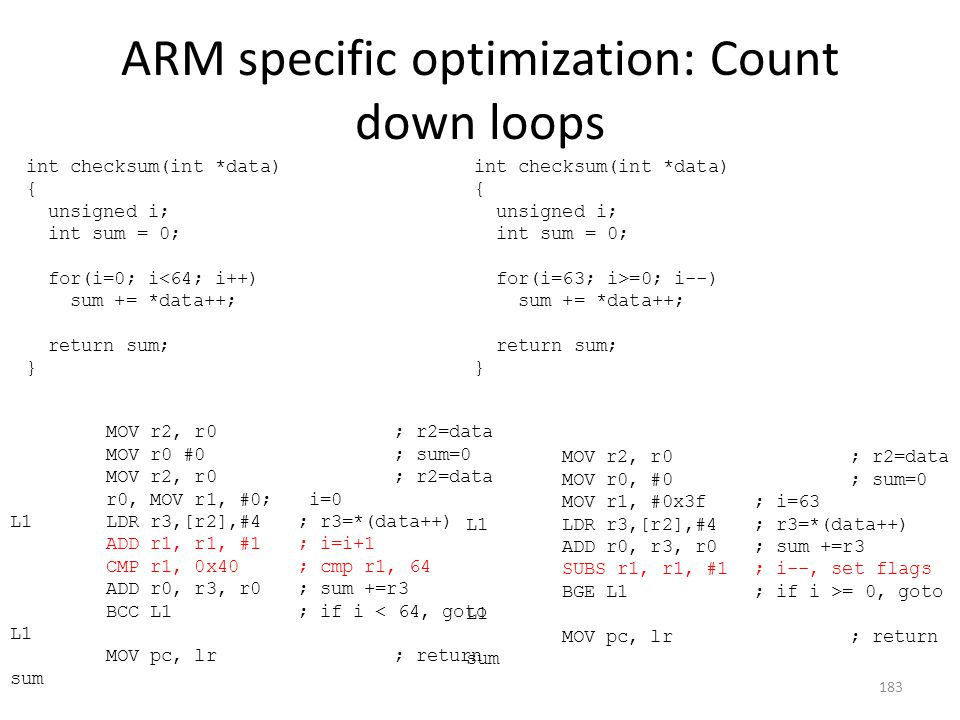 ARM specific optimization: Count down loops