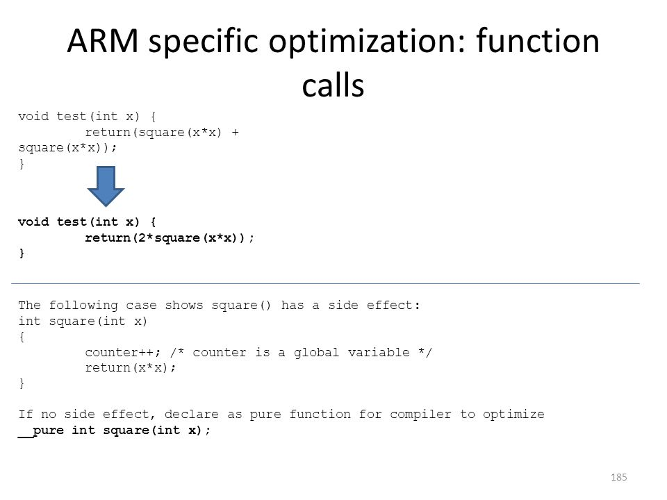 ARM specific optimization: function calls