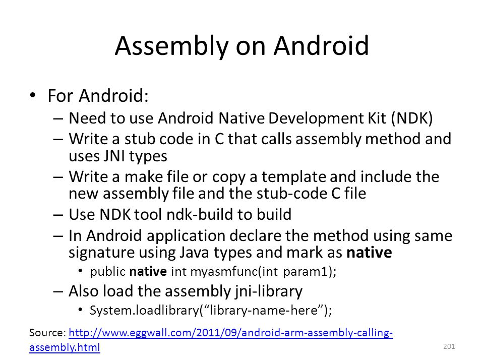 Assembly on Android For Android: