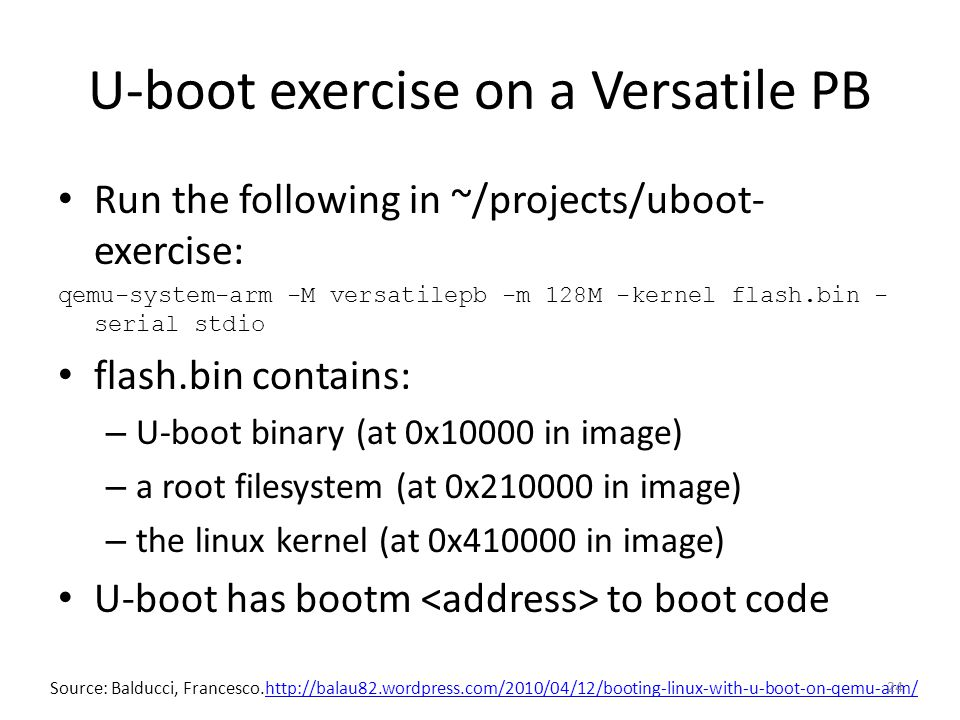 U-boot exercise on a Versatile PB