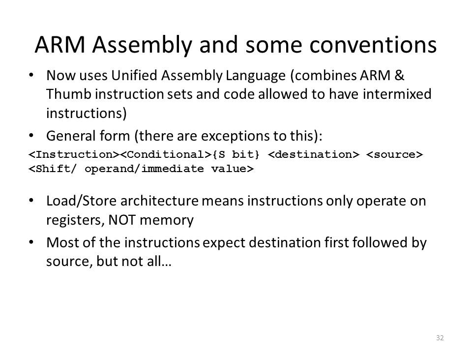 ARM Assembly and some conventions