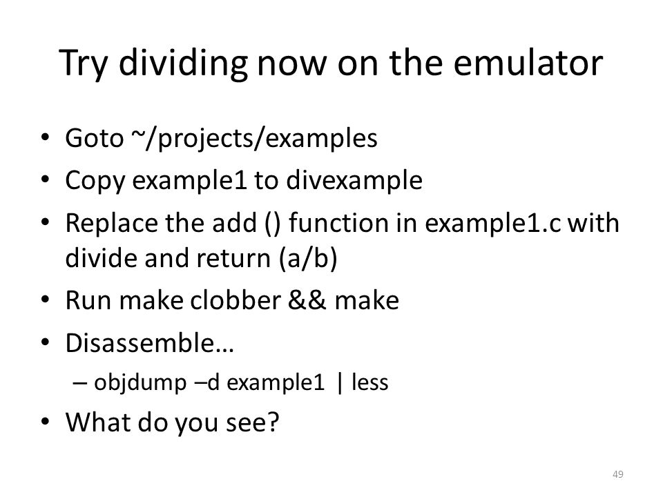 Try dividing now on the emulator