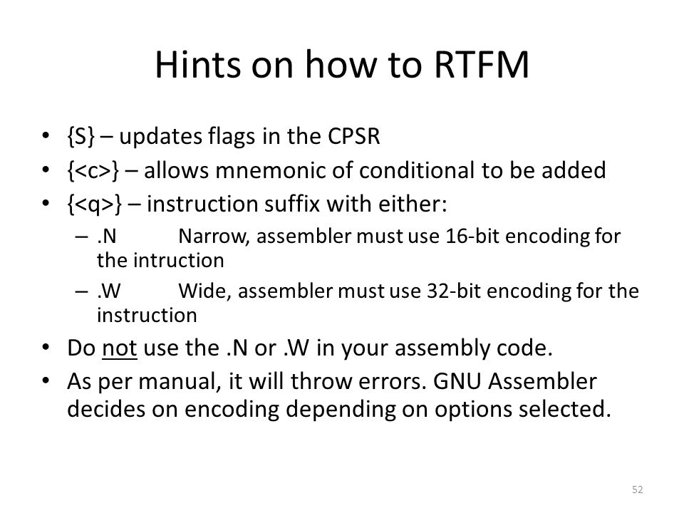 Hints on how to RTFM {S} – updates flags in the CPSR