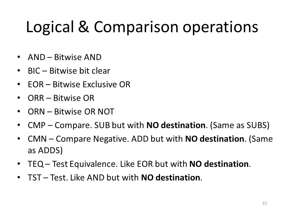 Logical & Comparison operations