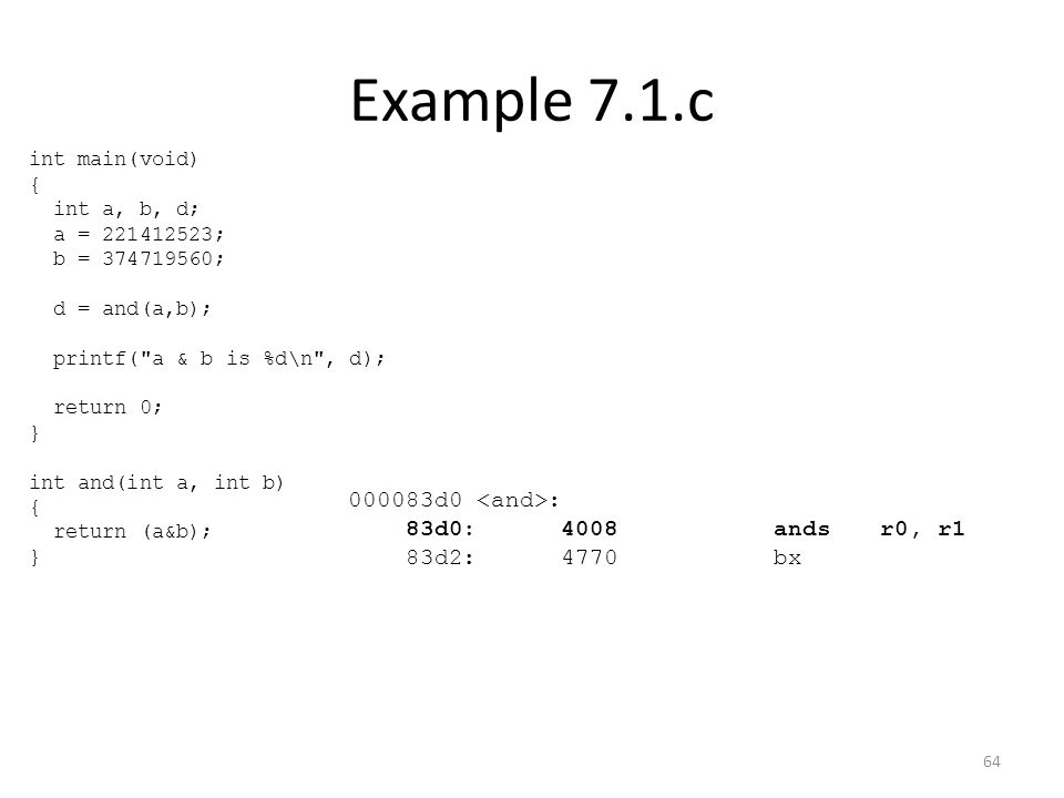 Example 7.1.c 000083d0 <and>: 83d0: 4008 ands r0, r1