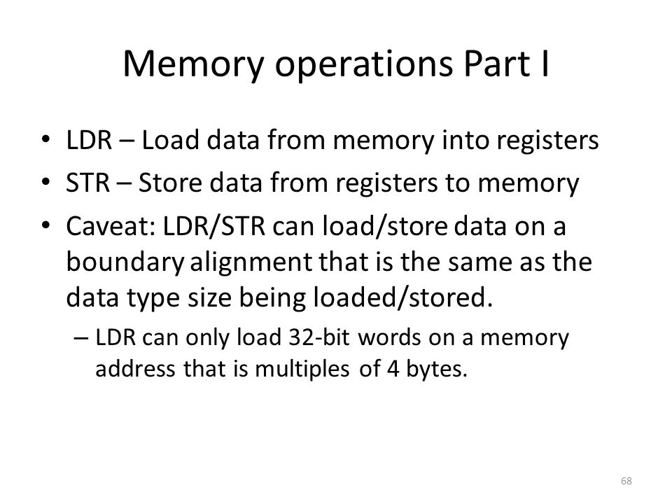 Memory operations Part I