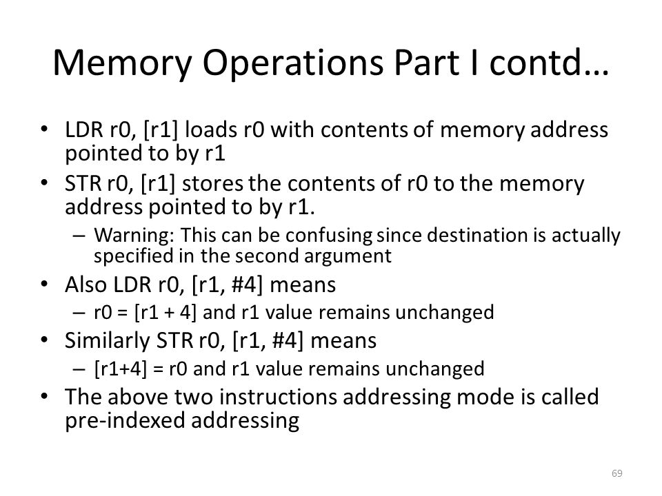 Memory Operations Part I contd…