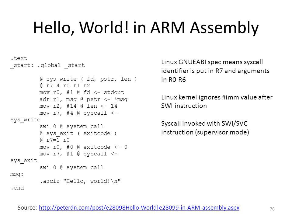 Hello, World! in ARM Assembly
