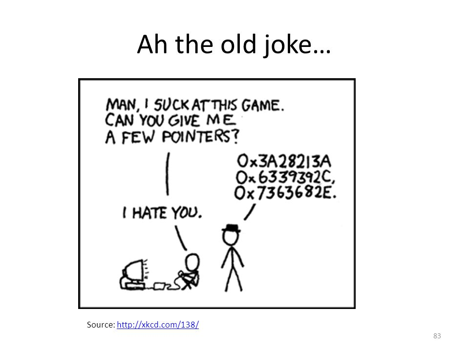 Ah the old joke… Source: http://xkcd.com/138/