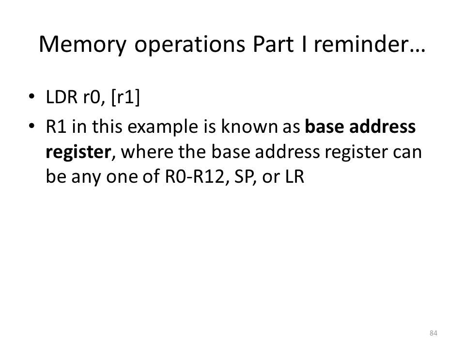 Memory operations Part I reminder…