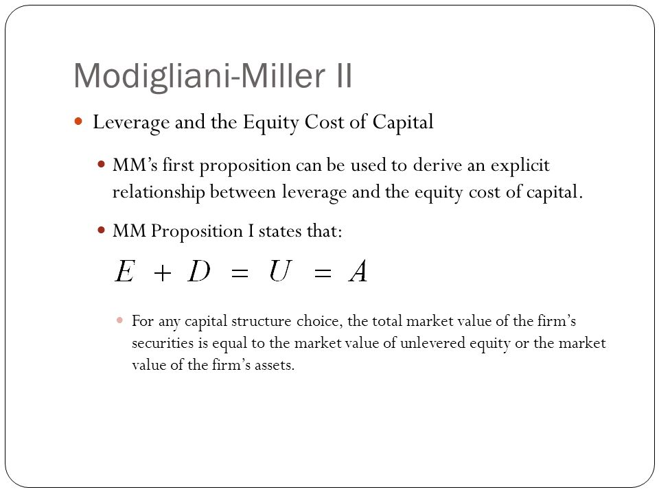 relationship between capital structure and cost of equation