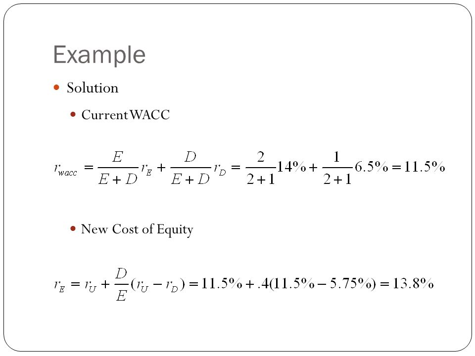 Example Solution Current WACC New Cost of Equity 27