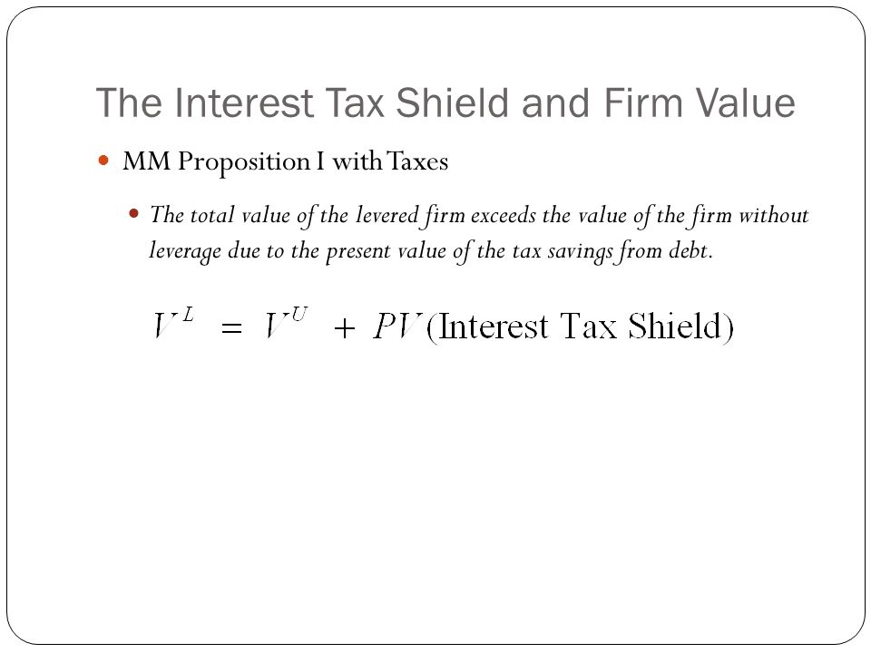 The Interest Tax Shield and Firm Value