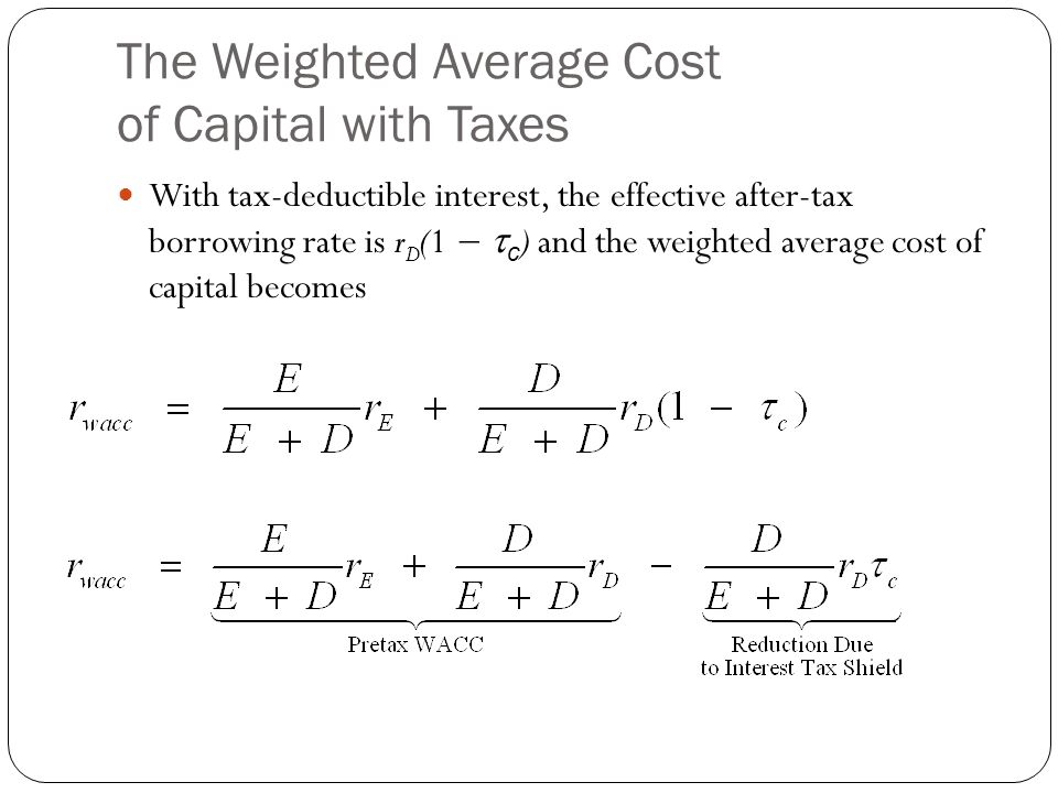 The Weighted Average Cost of Capital with Taxes