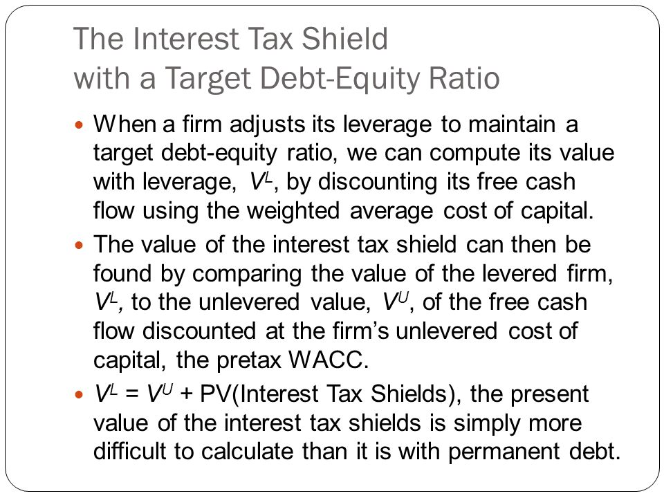 The Interest Tax Shield with a Target Debt-Equity Ratio