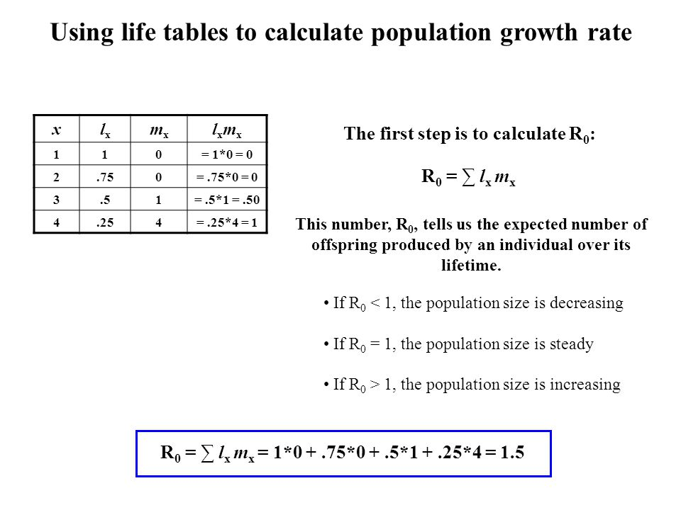 Using life tables to calculate population growth rate