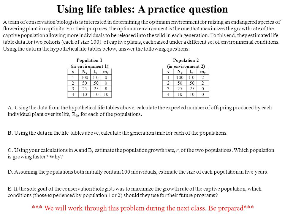 Using life tables: A practice question