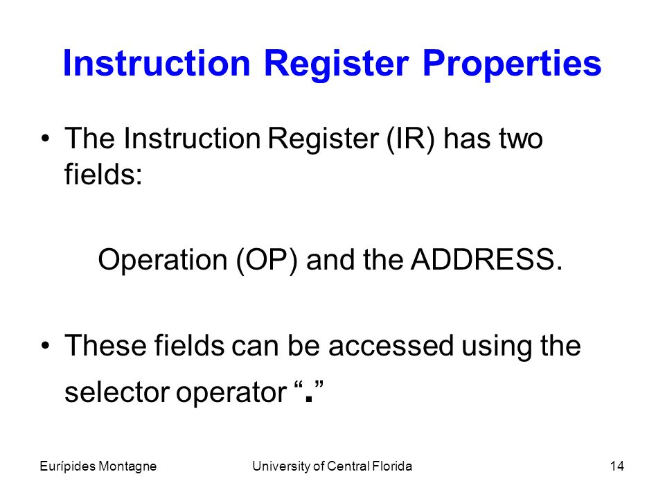 Instruction Register Properties