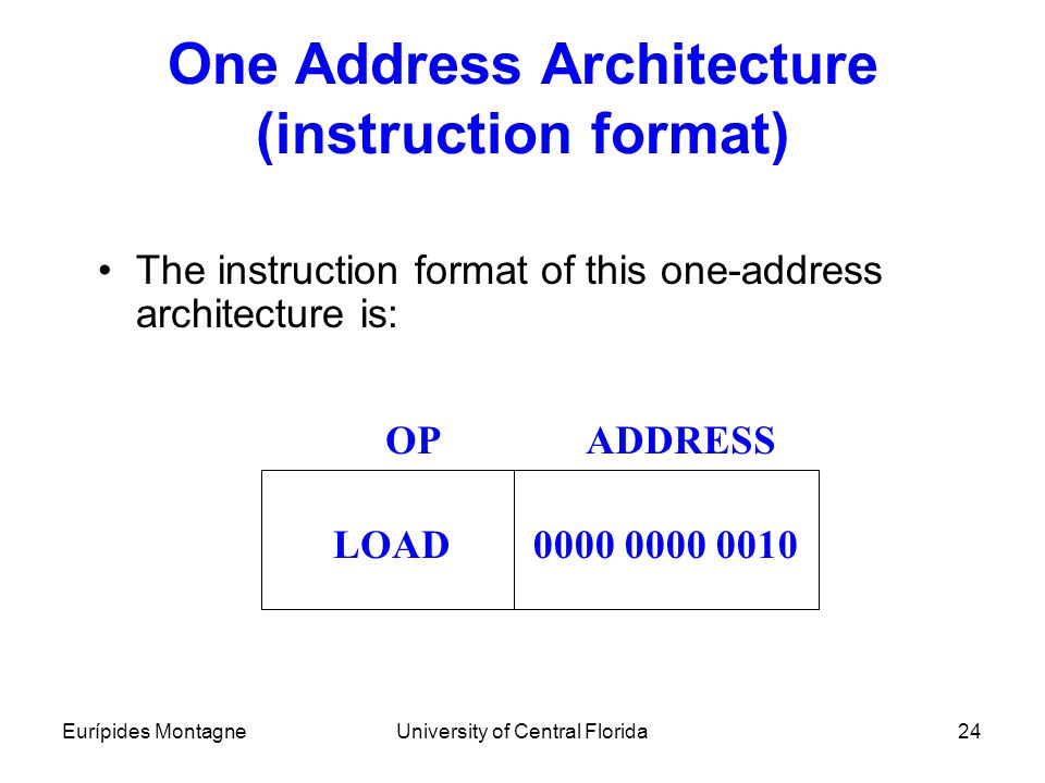 One Address Architecture (instruction format)